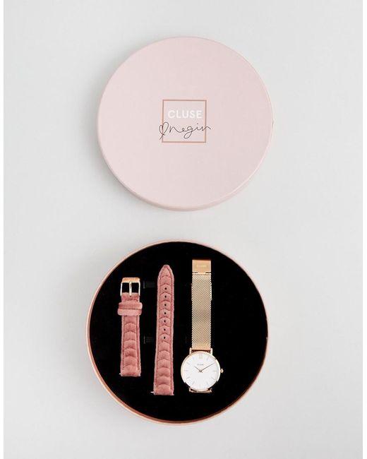 Cluse - Metallic X Negin Clg006 Minuit Mesh & Velvet Interchangable Strap Watch Gift Box - Lyst