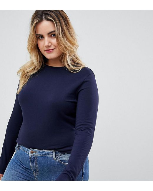 ASOS Blue Asos Design Curve Ultimate Top With Long Sleeve And Crew Neck In Navy
