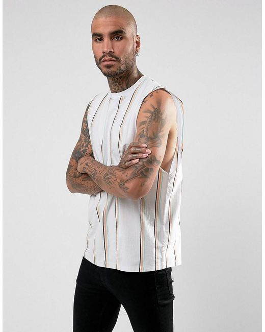 ASOS - White Dropped Armhole Sleeveless T-shirt With Vertical Stripe for  Men - Lyst ...