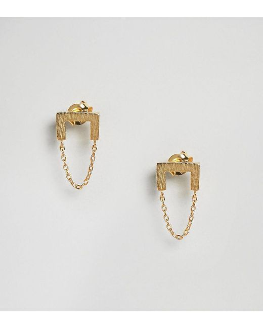 ASOS | Metallic Gold Plated Sterling Silver Brushed Square Chain Drop Earrings | Lyst