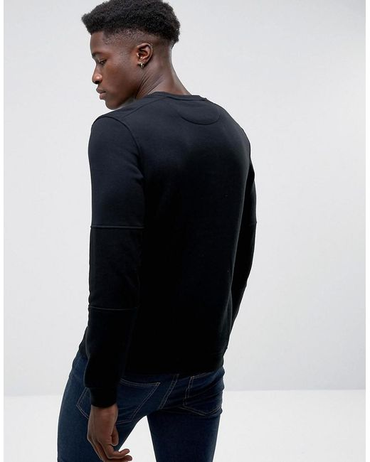 Core Crew Neck Sweat With Zip Detail - Black Jack & Jones