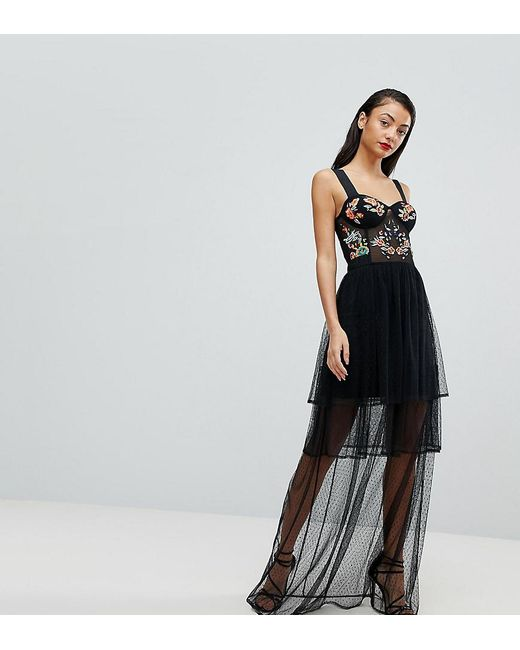 Lyst - Asos Embroidered Corset Maxi Prom Dress in Black
