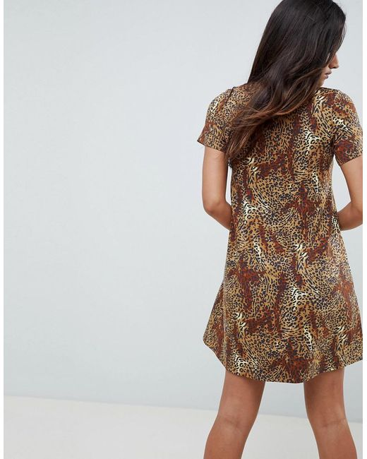 7485c7f72291 ... ASOS - Brown Leopard Print Swing Dress - Lyst