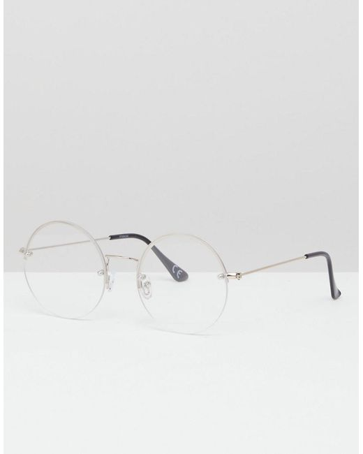 a22ef25b77 ASOS - Metallic Round Glasses In Silver With Laid On Clear Lens for Men -  Lyst ...