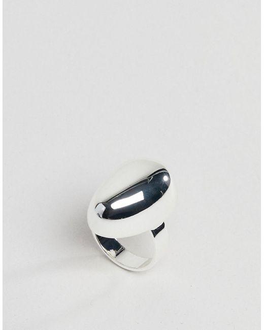 ASOS - Metallic Design Silver Plated Fluid Ovoid Shape Ring - Lyst