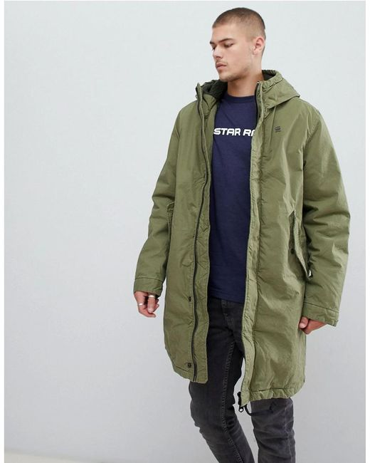 G-Star RAW - Sherpa Lined Hooded Parka In Green for Men - Lyst