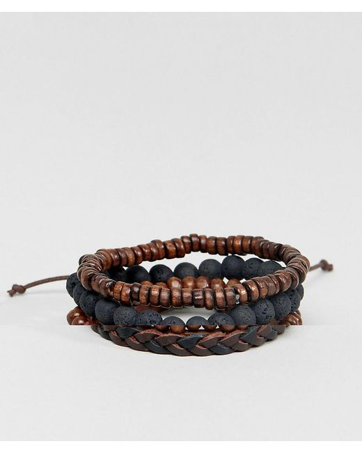ASOS - Leather And Beaded Bracelet Pack In Black And Brown for Men - Lyst