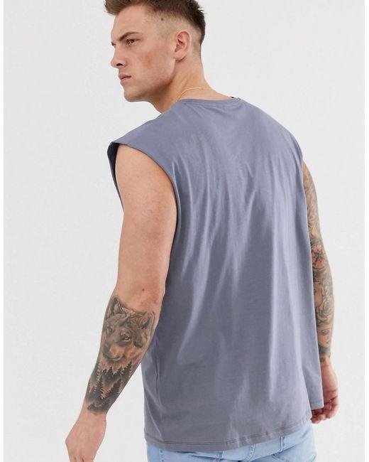 76d0dc66 ... ASOS - Gray Oversized Longline Vest In Grey for Men - Lyst