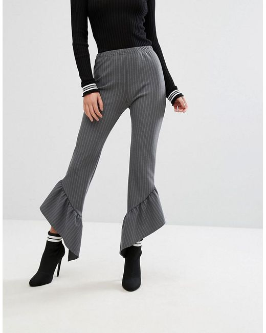 Limited Edition Sale Online Clearance Store Online Pinstripe Asymmetric Frill Hem Trouser - Grey Missguided YPm94OXKyK