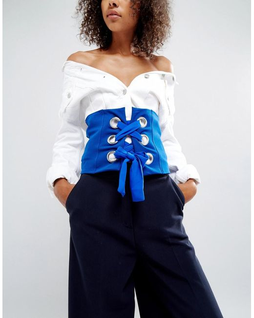 ASOS - Blue Bright Corset Belt With Large Eyelets - Lyst