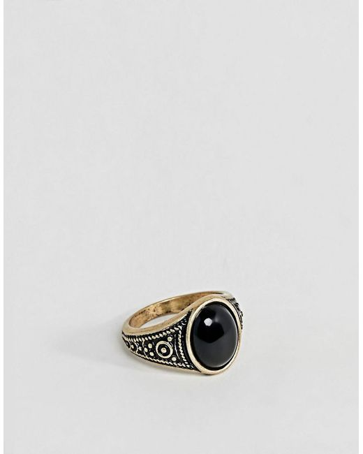 ASOS - Metallic Pinky Ring In Gold Tone With Black Enamel for Men - Lyst
