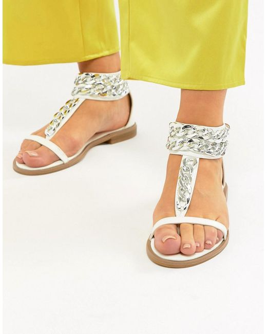 Truffle Collection - White Chain Flat Sandals - Lyst