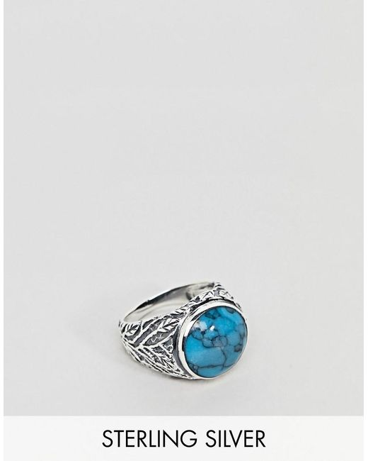 ASOS - Metallic Chunky Sterling Silver Ring With Stone In Turquoise for Men - Lyst