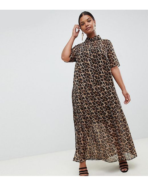 74826c0b7aa ASOS - Multicolor Asos Design Curve Pleated Maxi Shirt Dress In Leopard  Print - Lyst ...