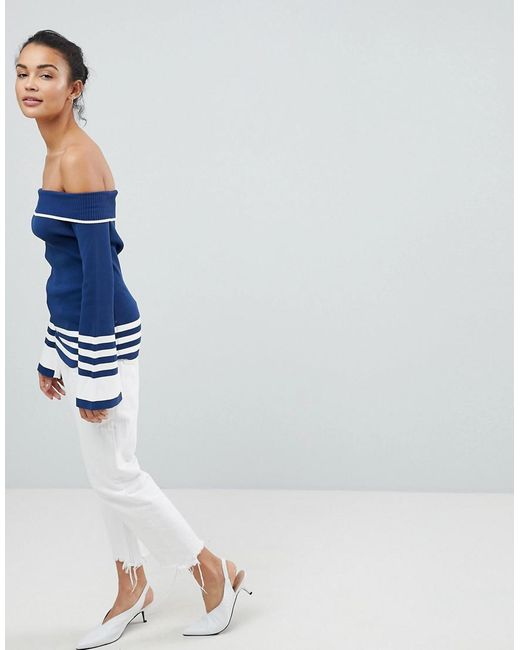 Structured Off Shoulder Knit With Flared Sleeves And Contrast Stripe - Blue Fashion Union Clearance Discounts Cheap Official Wn83S1