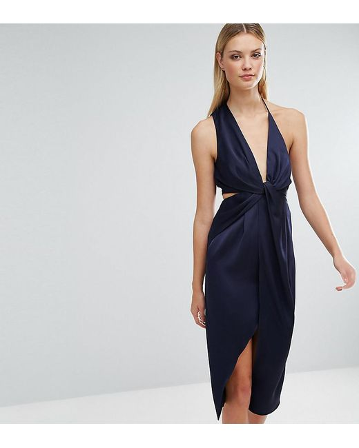 ASOS | Blue Cami Strap Twist Front Wrap Midi Dress | Lyst