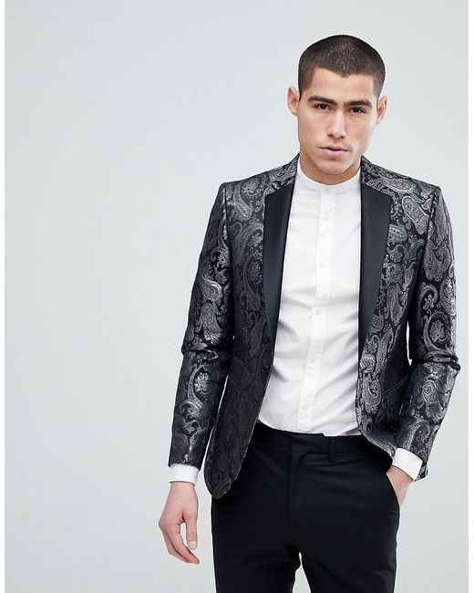 Men Moss London Skinny Blazer With Metallic Texture Print GZZRBY