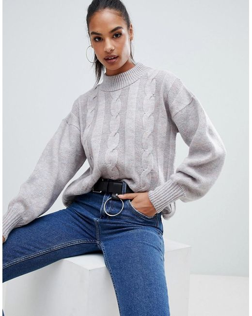 Boohoo - Gray High Neck Cable Knit Jumper In Space Grey - Lyst