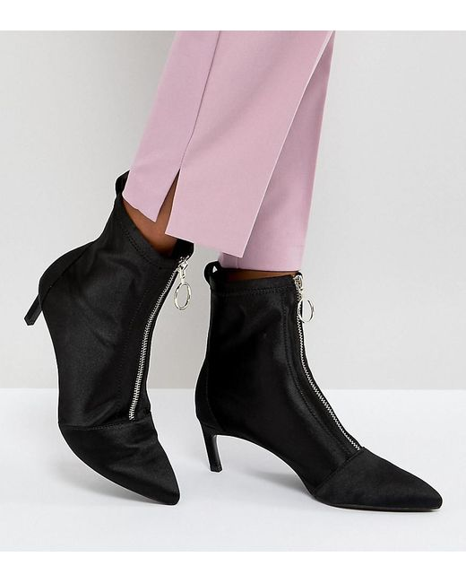 Stradivarius - Black Zip Front Stiletto Boot - Lyst