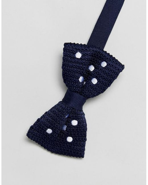 DESIGN knitted bow tie in navy - Navy Asos