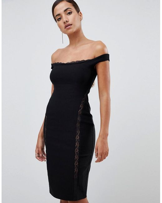 Vesper - Lace Underlay Bardot Bodycon Midi Dress In Black - Lyst
