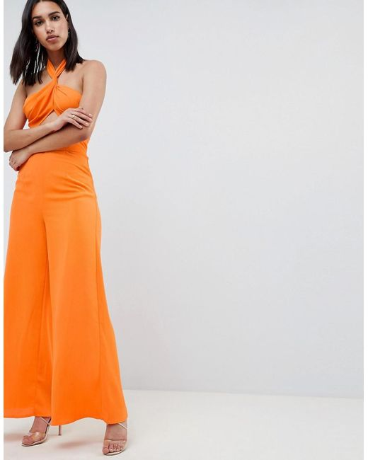 DESIGN Cross Front Jumpsuit With Twist Neck And Wide Leg - Orange Asos 4wWGZ8qD