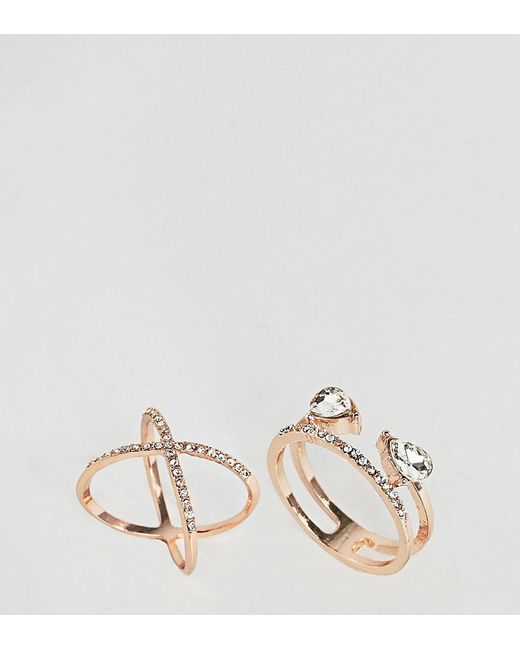 ASOS - Multicolor Pack Of 2 Fine Crystal Kiss Ring Pack - Lyst
