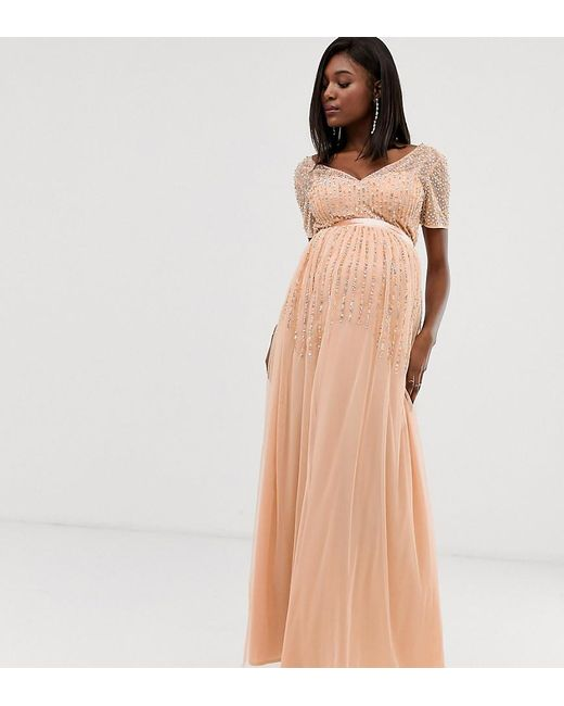 fcf4bb64b8e Maya Maternity - Pink Mesh All Over Scattered Sequin Pleated Maxi Dress In  Soft Peach ...