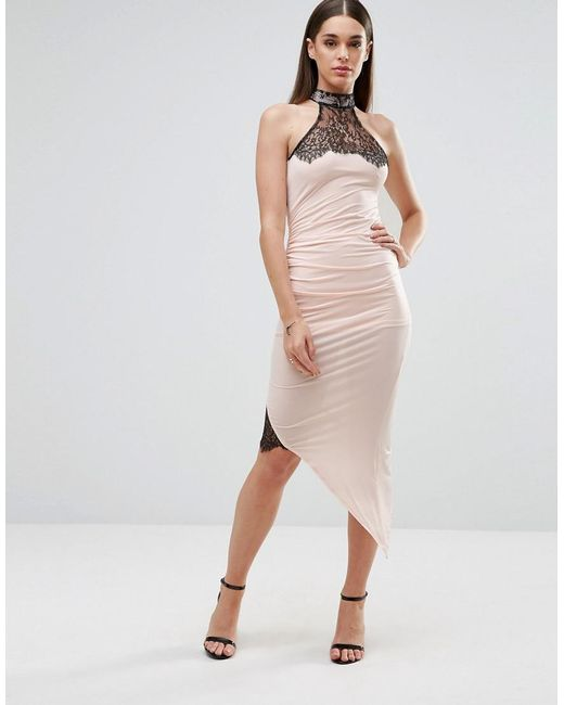 Sistaglam | White Pencil Dress With Asymmetric Hem And Lace Inserts | Lyst
