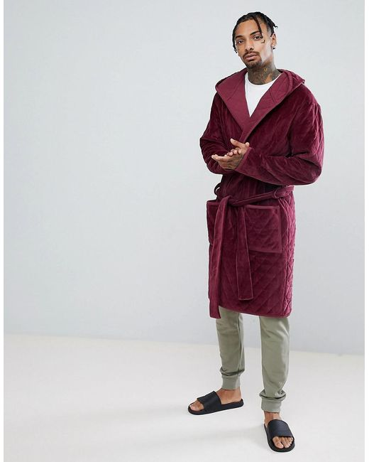 Asos Design Asos Hooded Dressing Gown Quilted In Velour in Red for ...