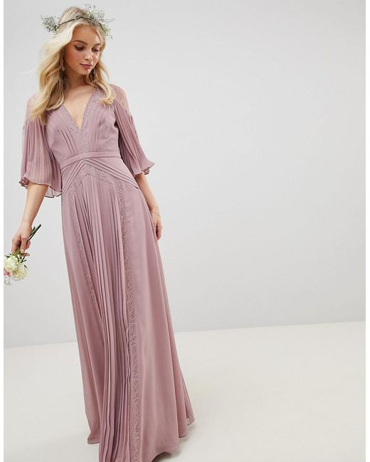 9dc87d5f8778 ASOS - Pink Pleated Paneled Flutter Sleeve Maxi Dress With Lace Inserts -  Lyst ...