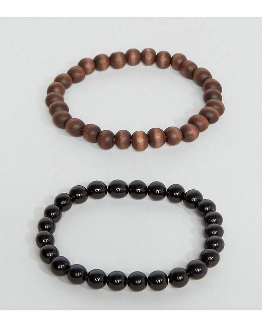 ASOS | Beaded Bracelet Pack In Black And Brown for Men | Lyst