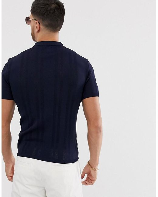 883bc0f9 River Island Half Zip Knitted Polo In Navy in Blue for Men - Lyst