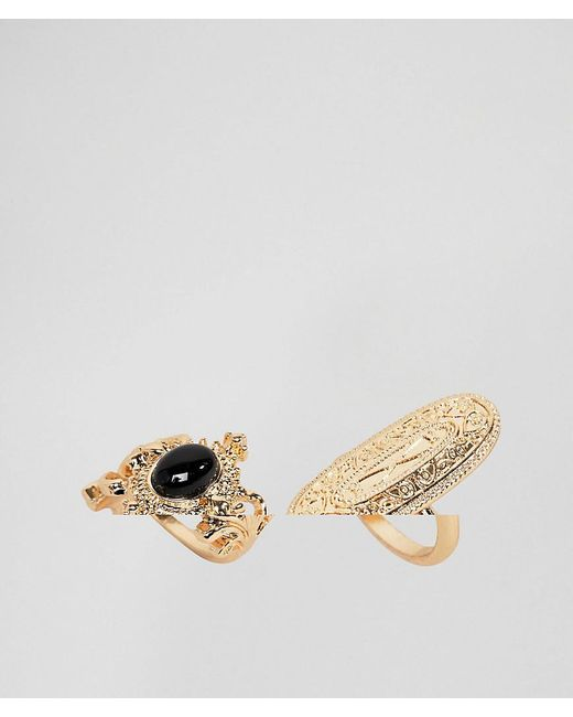 ASOS - Metallic Pack Of 2 Etched Rings - Lyst