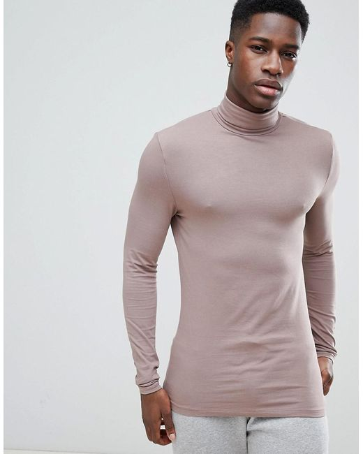 ASOS - Brown Design Muscle Fit Long Sleeve T-shirt With Roll Neck In Purple for Men - Lyst