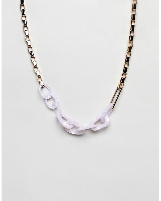 ASOS - Metallic Statement Necklace With Oversized Resin And Metal Link Chain In Gold - Lyst