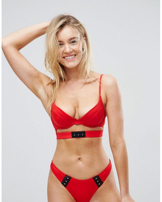 ASOS - Red Mix And Match Strap Detail Plunge Bikini Top With Hook And Eye - Lyst