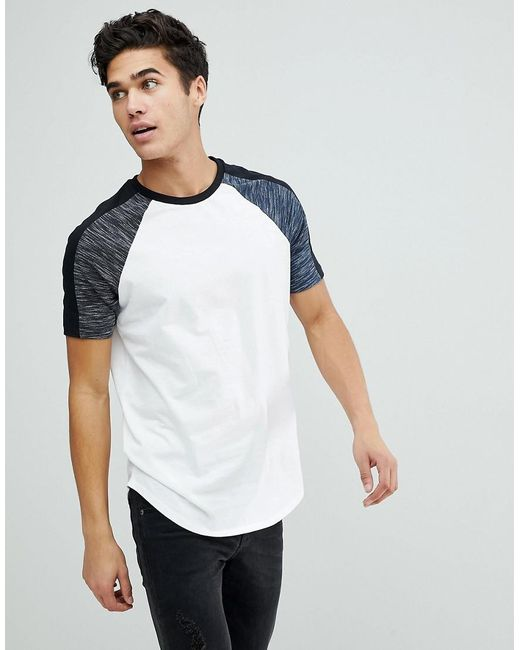ASOS - Asos Longline T-shirt With Curved Hem With Interest Fabric In White for Men - Lyst
