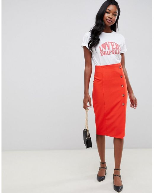 Miss Selfridge - Pencil Midi Skirt With Button Through Detail In Red - Lyst  ... 75bf7a1f6