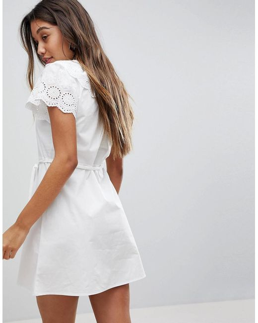 d6b31d188c ... Fashion Union - White Dress With Broderie Collar And Sleeves - Lyst