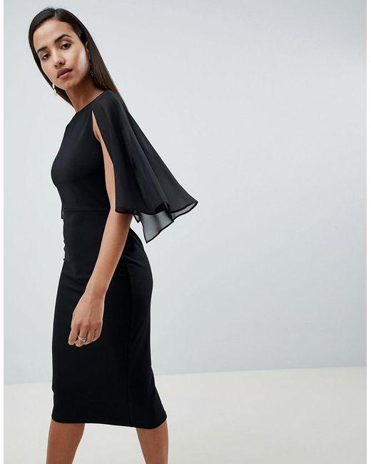ASOS - Black Woven Mix Cape Back Pencil Dress - Lyst
