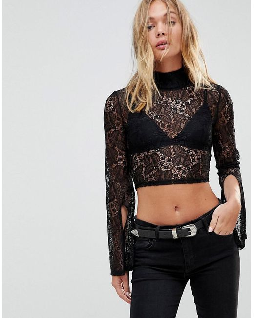 MINKPINK - Black Damsel Lace Top With High Neck And Split Sleeves - Lyst