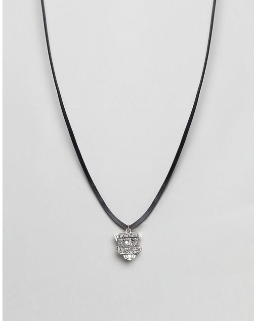 DIESEL - Black Leather Cord Necklace for Men - Lyst