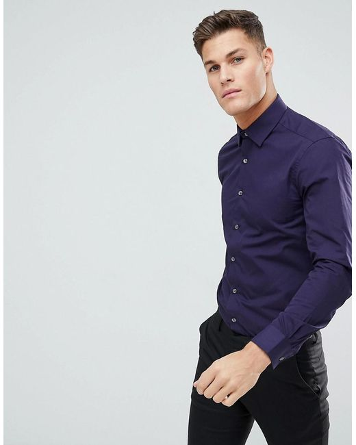 French Connection - Purple Plain Poplin Slim Fit Shirt for Men - Lyst ...