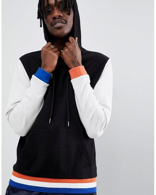 ASOS - Hoodie With Contrast Sleeves And Tipping In Black And Grey for Men - Lyst