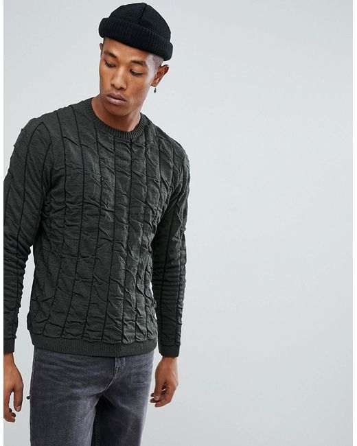 ASOS - Green Asos Quilted Jumper In Khaki for Men - Lyst