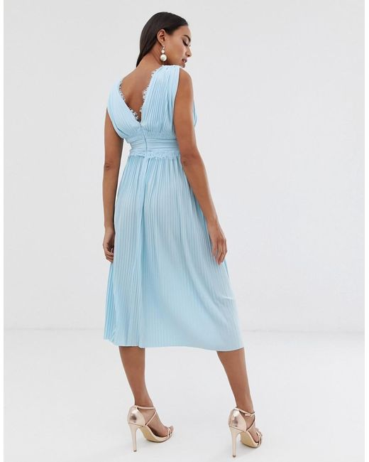 f1fb259e32 ... ASOS - Blue Asos Design Maternity Premium Lace Insert Pleated Midi Dress  - Lyst