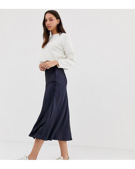 f97a8e611f968 ASOS - Blue Asos Design Tall Bias Cut Satin Slip Midi Skirt - Lyst ...