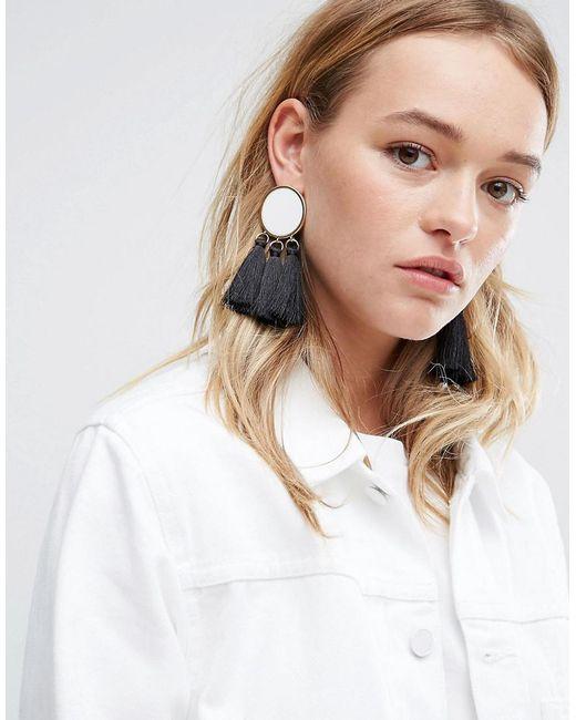 ASOS   Metallic Mono Tassel Earrings   Lyst