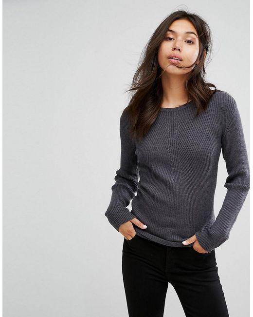 Pieces | Gray Vesla Knit Jumper | Lyst